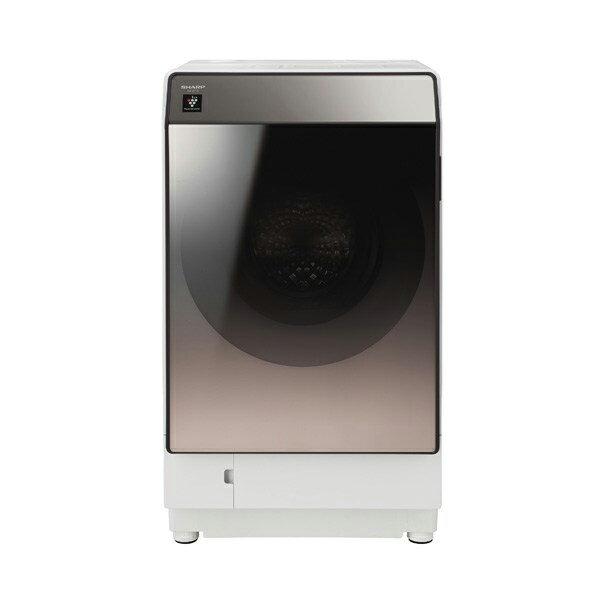 【送料無料】洗濯機 シャープ SHARP ES-U111-TL 白 ホワイト ブラウン おしゃれ スタイリッシュ 左開き 洗濯11kg 乾燥6kg 超音波ウォッシャー搭載