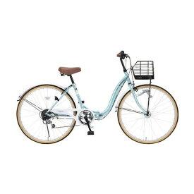 マイパラス M-509-MT クールミント PRINTEMPS [折り畳みシティサイクル(26インチ・シマノ6段変速)] 通勤 通学 学生 OL 街乗り 買い物 アウトドア サイクリング 運動 入学 メーカー直送
