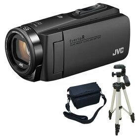 ビデオカメラ JVC ( ビクター ) 64GB 大容量バッテリー GZ-RX680-B マットブラック 三脚 & バッグ付きセット 防水 防滴 防塵 耐衝撃 耐低温 長時間録画 旅行 成人式 卒園 入園 卒業式 入学式 結婚式 出産 アウトドア 学芸会 小型 小さい