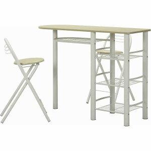 テーブル チェア セット 3点セット カウンターテーブル 椅子 折りたたみチェア 2脚セット デスク ラック 収納 ホワイト ナチュラル