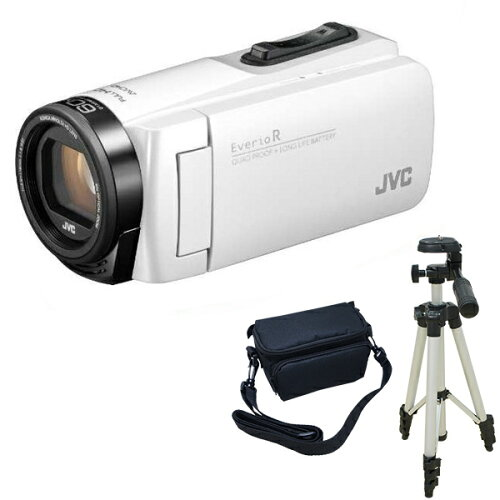 JVCGZ-R480-WシャインホワイトEverioR+KA-1100三脚&バッグ付きお得セット[フルハイビジョンデジタルビデオカメラ(メモリータイプ32GB・SDカード)]