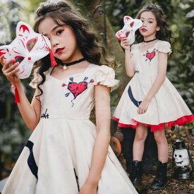 二枚送料無料 ハロウィン 衣装 子供 コスプレ 精霊 デビル 吸血鬼 魔女 女の子 ハロウィーン 仮装 キッズ ゴシック ロリータ ワンピース コスチューム 変身変装 おばけ コスプレ 身長105-150