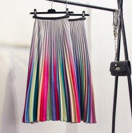 二枚送料無料♪ レディース スカート ロング丈半身スカート プリーツスカート Aライン 虹色スカート グラデーション 体型カバー効果抜群 着回し ボトムス フリーサイズ