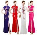 送料無料 エレガント チャイナドレス 大きいサイズ ロング スリット パーティードレス 二次会ドレス チャイナ服 スリ…