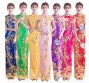 送料無料♪ 中式結婚式 ドレス チャイナドレス ロング 精巧な刺繍花柄 スリット スリムドレス チャイナ服 パーティー…