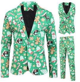 送料無料 新作 クリスマス衣装 メンズスーツ3点セット クリスマスパーティー衣装 舞台 演出服 クリスマスプレゼント サンタコス シンガー カラオケ 魔術師 演出服 雪だるま プリント花柄スーツ M-3XL