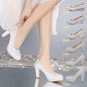 二個送料無料♪ レディース シューズ ハイヒール ミドルヒール ローヒール 厚底 靴 ブライダルシューズ 太ヒール 結婚式 披露宴 ダンスシューズ 身長アップ 履きやすい 痛くない 21-26cm