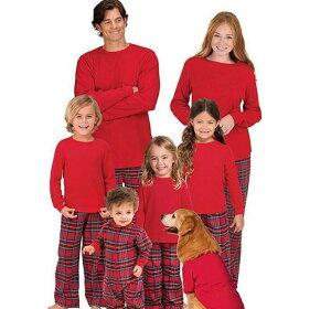 クリスマスパジャマ 親子ペア パジャマ クリスマス元素 ルームウェア サンタ サンタクロース クリスマスイブ 家族お揃い ナイトウェア プレゼント チェック柄 パジャマ カップル