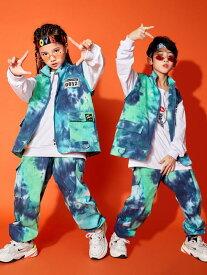 かっこいい ダンス衣装 子供 ジャズダンス ヒップホップ ダンス 衣装 カーゴベスト サルエルパンツ Tシャツ 迷彩 プリント パンツセット 男の子 女の子 hiphop 舞台演出服