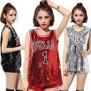 ジャズダンス 衣装 スパンコール ダンス衣装 Tシャツ DS JAZZ HIPHOP トップス タンクトップ ヒップホップ衣装 舞台演…