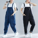 デニムサロペットパンツ 大きいサイズ デニム オーバーオール パンツ デニム 袴パンツ ゆったり 体型カバー ブラック …