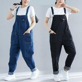 デニムサロペットパンツ 大きいサイズ デニム オーバーオール パンツ デニム 袴パンツ ゆったり 体型カバー ブラック ブルー 5XL-8XL