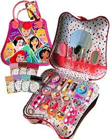 【セール中】ディズニー プリンセス(Disney Princess)持ち運べる取っ手付き ミラー付きコスメセット 30点セット ネイルシール付き キッズ用 化粧品 メイクアップセット コスメ コスメボック