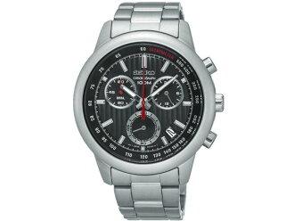 Seiko SEIKO reverse chronograph men's watch SSB205P1 silver metal belt