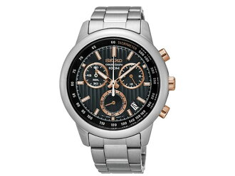 Seiko SEIKO reverse chronograph men's watch SSB215P1 silver metal belt