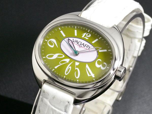 バガリー VAGARY クオーツ レディース 腕時計 IQ0-510-40 ホワイト×グリーン レザーベルト