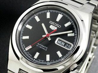 在日本自动机芯男式手表 SNKC55J1 银黑色 x 银金属腰带精工精工 5 5 反向