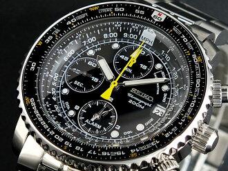 精工SEIKO返销进口手表飞行员警报计时仪SNA411P1人黑色×银子金属皮带