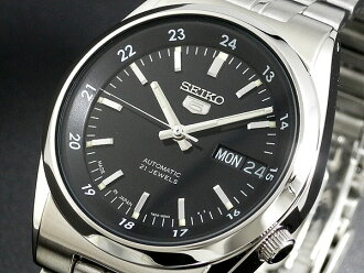 Seiko SEIKO 5 5 reverse made in Japan automatic movement mens watch SNK567J1 black x silver silver metal belt