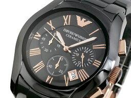 EMPORIO ARMANI CERAMICA CERAMICA計時儀人手錶AR1410玫瑰黄金×黑色