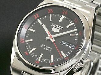 在日本自动机芯男式手表 SNK569J1 银黑色 x 银金属腰带精工精工 5 5 反向