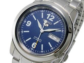 SEIKO 5精工5返销进口自动卷人手表SNKE61K1蓝色×银子金属皮带