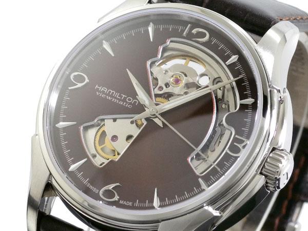 ハミルトン ジャズマスター オープンハート 自動巻き スイス製 腕時計 H32565595 メンズ ブラウン レザーベルト