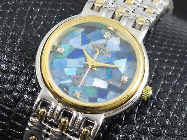 モントレス MONTRES 天然オパール レディース 腕時計 MS-009L-SGOP ブルーモザイク コンビ メタルベルト ブレスレット