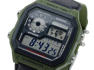 Casio CASIO overseas model standard digital mens watch AE-1200WHB-3B Khaki / Black nylon belt
