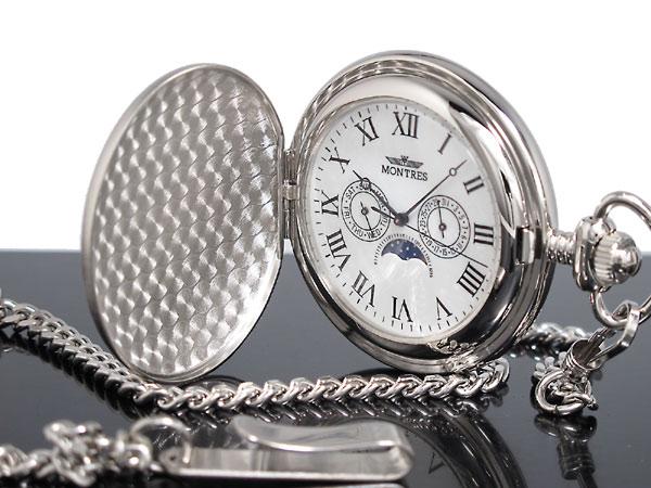 モントレス MONTRES ムーンフェイズ マルチカレンダー 懐中時計 サテン シルバー ローマ数字 MS-923-WR メンズ