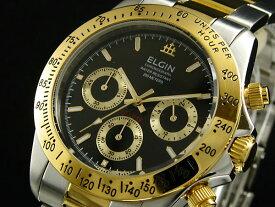 エルジン ELGIN ダイバーズ 腕時計 クロノグラフ メンズ FK1059TG-B ゴールド×ブラック メタルベルト
