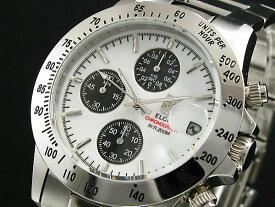 エルジン ELGIN ダイバーズ 腕時計 クロノグラフ メンズ FK1184S-W ホワイト×ブラック シルバー メタルベルト