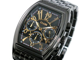 エルジン ELGIN トノー 腕時計 クロノグラフ メンズ FK1215B-B ゴールド×ブラック メタルベルト