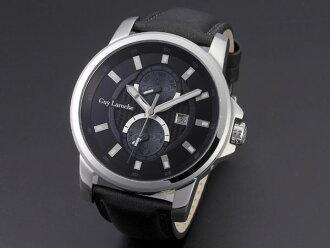 Guy Laroche 기라롯슈마르치판크션멘즈 손목시계 G3001-01 블랙×실버 레더 벨트