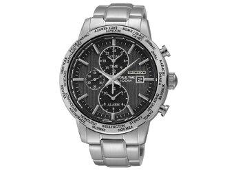 Seiko SEIKO overseas model world time alarm GMT mens watch SPL049P1 black x silver metal
