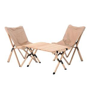 DA アウトドアテーブル 木製 折り畳み おしゃれ アウトドア テーブルセット 折りたたみ テーブル チェア コンパクト キャンプ イス 椅子 3set 宅配便RSL