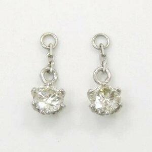 プラチナ(PT900)ライトブラウン ダイヤモンドトータル0.3カラット(0.15ct×2)ピアスチャーム(ピアス芯用)