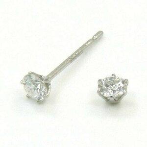 プラチナ ダイヤモンドトータル0.16カラットPT900 天然ダイヤ(SI2/J)0.08ctx2六本爪 ピアス(太さ0.9ミリ 長さ12ミリ芯・シリコンキャッチ付)