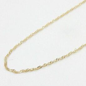 ネックレス18金ゴールド 長さ40センチ スクリューチェーン ネックレス (幅0.6mm・長さ40cm/Sプレート・アジャスター用マルカン3cm下)