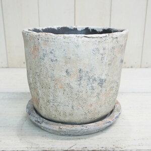 植木鉢 おしゃれ セメント アンティーク 弥生シリンダー 2L< 19cm 6号 穴あり 受け皿付 和風 コンクリート 白 ベージュ クリーム シャビー プランター 鉢 円筒 円柱 ガーデニング 室内 植え替