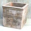 植木鉢 おしゃれ テラコッタ テラアストラカペラキュビS< 28cm 9号 穴あり ベージュ ブラウン 白 四角 キューブ スクエア 正方形 陶器鉢 素焼き プランター 鉢 アンティーク ガーデニング