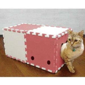 ○明和グラビア 猫トンネル 10枚入り アイボリー×ピンク NT-02 (ペット/猫/ネコ/おもちゃ)