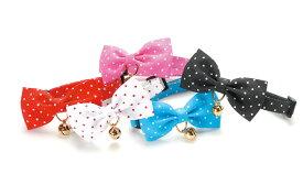 ●【メール便2個・ネコポス3個OK】【アモワークス】Cat Amo.k 水玉リボン カラー S・Mサイズ 猫用(レッド・ピンク・ブルー・ブラック)