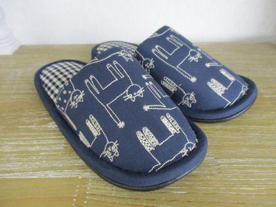 【16時まであす楽】noafamily ノアファミリー socks cat スリッパ ネイビー(春夏秋冬/スリッパ/ステッチ刺繍/ギンガムチェック/コットン)
