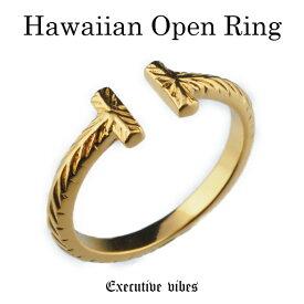 【クーポン配布中】【メール便送料無料】ハワイアンオープンリング ゴールド ペアリング ハワイアンジュエリー メンズ レディース 指輪 お揃い T silver925 リング 24k coating 24金