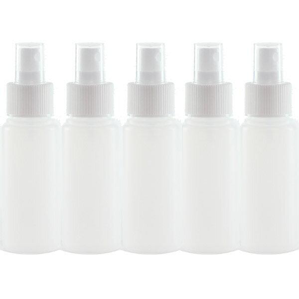 スプレー容器【半透明ボトル 50mL 5本セット】空容器 消臭剤 化粧品 消毒 虫よけの小分け容器