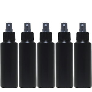 スプレーボトル【遮光性ブラック100mL 5本セット】PE空容器 無水エタノール対応