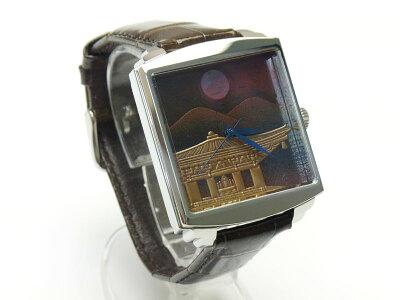 【バンド調整、ラッピング無料】高級蒔絵時計「浄雅」URUSHIMAKIE漆塗りハンドメイド文字盤「山水」自動巻きメンズ腕時計G01010