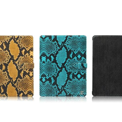 新しいiPad (iPad3) / iPad4  Prestige Supreme Serpent Series★天然牛革★ヘビ柄のレザーケース2段スタンド付」
