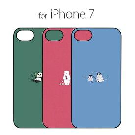 iPhone 8 / 7 ケース Dparks ブラックケース ミニ動物(ディーパークス)アイフォン カバー パンダ シロクマ ペンギン